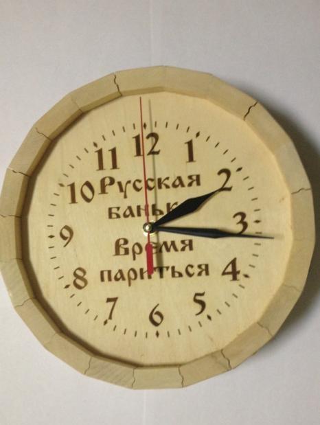 Часы для бани с гравировкой (липа)