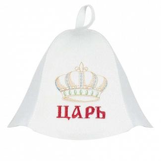 Шапка для бани Банные штучки Царь цвет белый