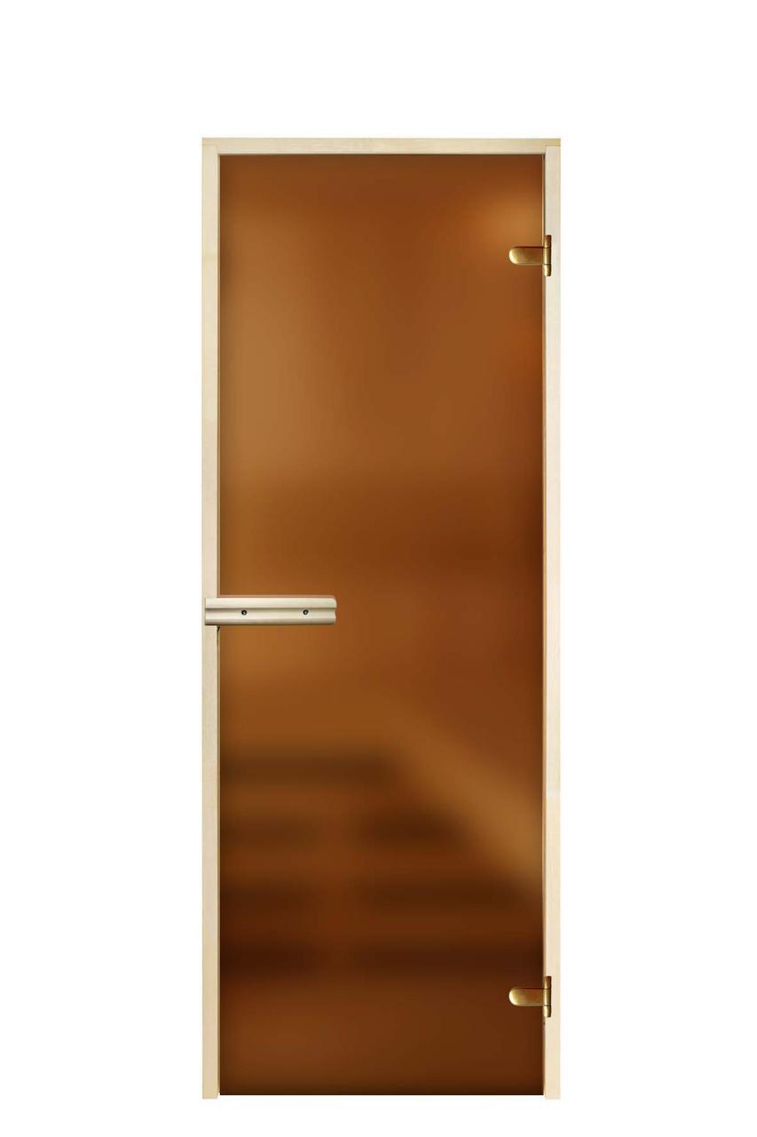 Дверь стеклянная для бани «Матовая бронза»