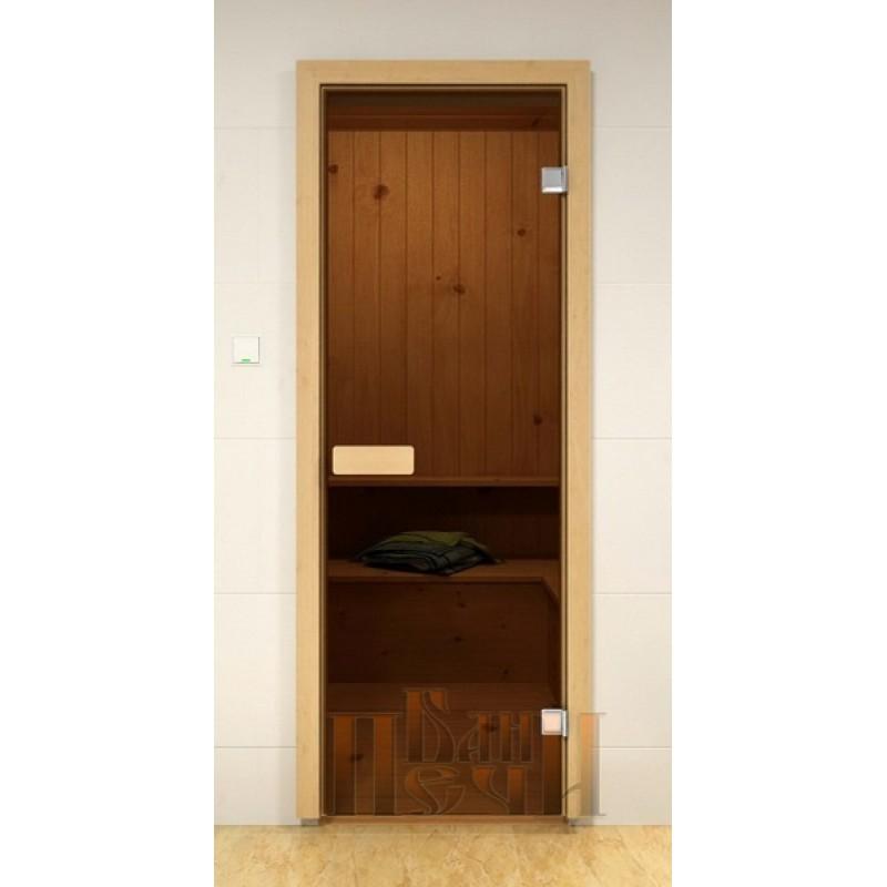 Дверь стеклянная для бани «Бронза»