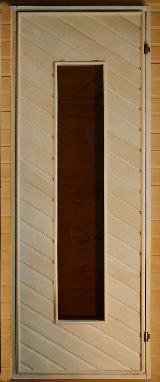 Банная дверь глухая со стеклом (липа) 160*70
