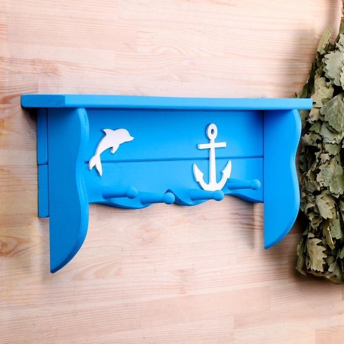 Полка для бани и сауны с вешалкой  «Дельфин»