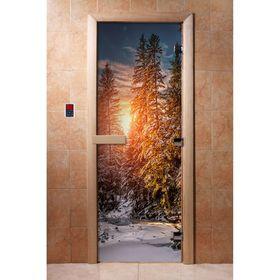 Дверь стеклянная с фотопечатью «Лес»
