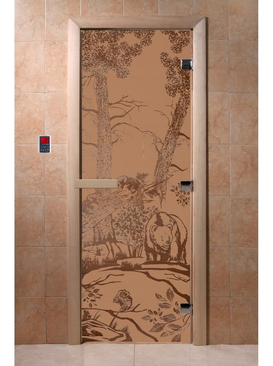 Дверь стеклянная с рисунком»Мишки»