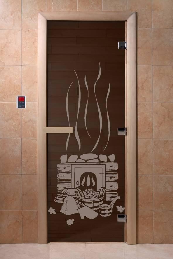 Дверь стеклянная с рисунком»Банька»