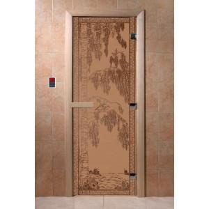 Дверь стеклянная с рисунком»Берёзка»
