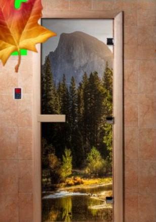 Дверь стеклянная с фотопечатью «Гора»